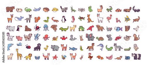 Fototapeta premium Set of cartoons of wild animals - Vector illustration