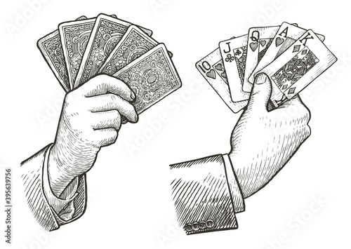 Poker cards Straight Flush in hand. Playing cards sketch vintage vector illustration - fototapety na wymiar