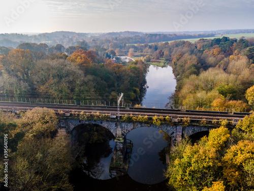 Fototapeta Vale Royal Railway Viaduct over the river Weaver near Hartford, Northwich, Cheshire obraz na płótnie