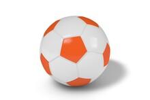 Orange And White Soccer Ball On A White Background. 3d Illustration.