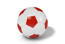 Red And White Soccer Ball On A White Background. 3d Illustration.