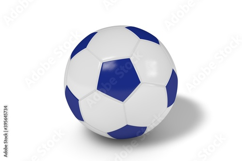 Fotomural Blue and white soccer ball on a white background