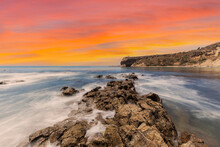Abalone Cove Shoreline Park With Sunset Sky In Los Angeles County California.