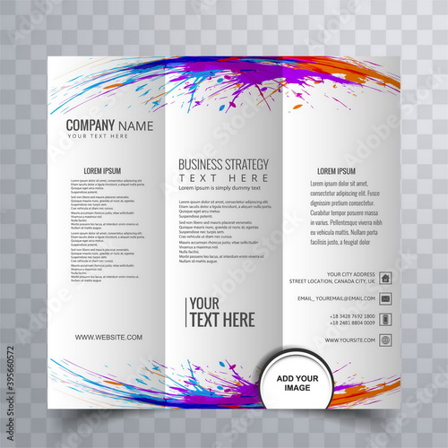 trifold business brochure with colorful paint splashes Wallpaper Mural