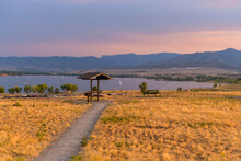 Sunset Summer Park - A Summer Sunset View Of A Quiet Picnic Area At Top Of Chatfield Dam, Chatfield State Park, Denver-Littleton, Colorado, USA.