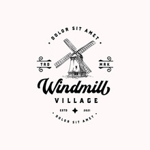 Old Dutch Type Wind Mill Hand Drawn Vintage Logotype Template