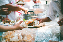 Free Food For Poor And Homeless People: Concept Of Sharing