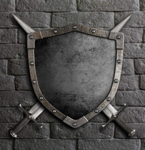 Metal Old Shield With Crossed Swords On Brick Wall 3d Illustration