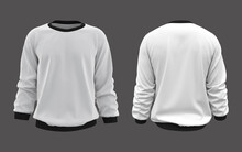 Blank Sweatshirt Mock Up In Front, And Back Views, Isolated On Grey, 3d Rendering, 3d Illustration