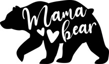 Mama Bear On The White Background. Vector Illustration