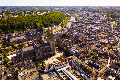 Aerial view of Quimper town and gothic Cathedral of Saint Corentin, France