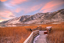 LEE VINING, CALIFORNIA, UNITED STATES - Nov 14, 2020: Sierra Nevada Mountains Over Mono Lake