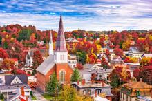 Montpelier, Vermont, USA Town Skyline In Autumn.