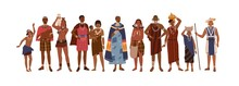 Group Of Happy Aboriginal Or Indigenous People Of Africa Dressed In Ethnic Clothes Isolated On White Background. Men, Women And Children - Members Of African Tribes. Flat Vector Illustration