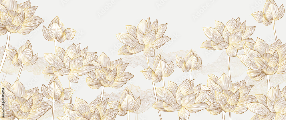 Fototapeta Luxury wallpaper design with Golden lotus and natural background. Lotus line arts design for wall arts, fabric, prints and background texture, Vector illustration.