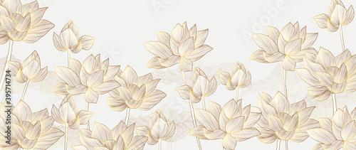 Fototapeta Luxury wallpaper design with Golden lotus and natural background. Lotus line arts design for wall arts, fabric, prints and background texture, Vector illustration. obraz