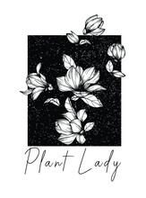 Magnolia Flowers Drawing And Sketch With Line-art On White Backgrounds. Plant Lady Text Vector. T Shirt Graphic Design