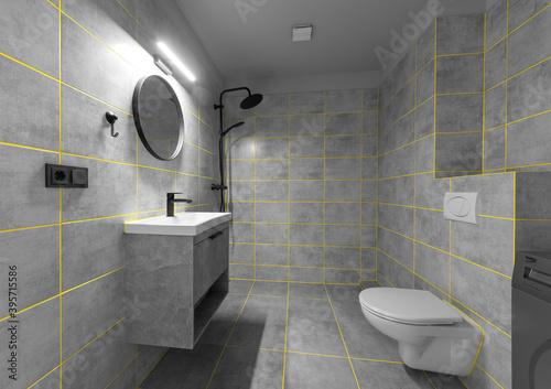Fototapeta Modern Stylish Bathroom with grey walls, concrete floor, comfortable white bathtub and sink near the mirror obraz na płótnie