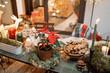 Leinwandbild Motiv Beautifully decorated dinner table on the terrace outdoors during the New Year holidays