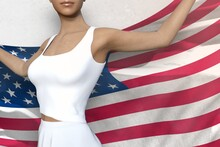 Sexy Girl Holds USA Flag In Hands Behind Her Back On The White Background - Flag Concept 3d Illustration