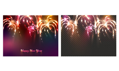 New Year Celebration Fireworks Background In Two Options.