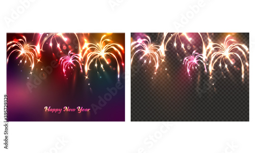 Fototapeta New Year Celebration Fireworks Background In Two Options. obraz