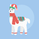 Fototapeta Dinusie - christmas llama isolated on background