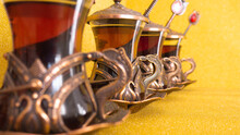 Traditional Turkish Copper Tea Set And Spoons.