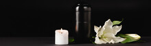 Lily, Candle And Urn With Ashes On Black , Funeral Concept, Banner
