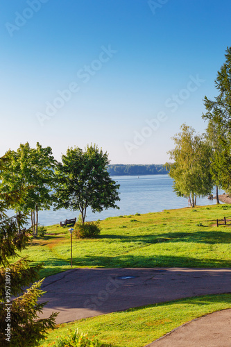 Cuadros en Lienzo view from the window to the Volga River on a summer morning