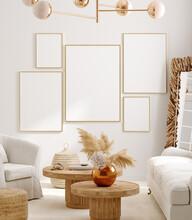 Mockup Frame In Interior Background, Room In Light Pastel Colors, Scandi-Boho Style, 3d Render