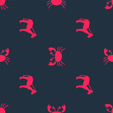 Set Horse And Crab On Seamless...