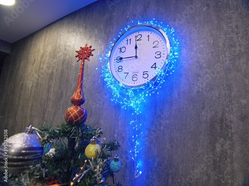 Clock and christmas tree, balls, toys Wallpaper Mural
