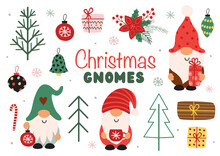 Set Of Isolated Funny Christmas Gnomes