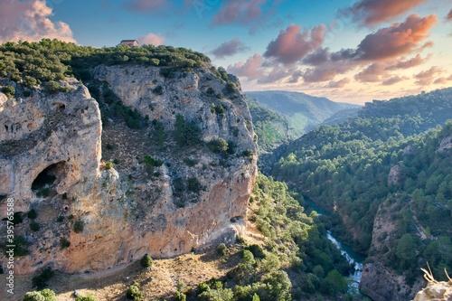 Jucar cliff and river from the Mirador de el Ventano del Diablo in Cuenca Wallpaper Mural