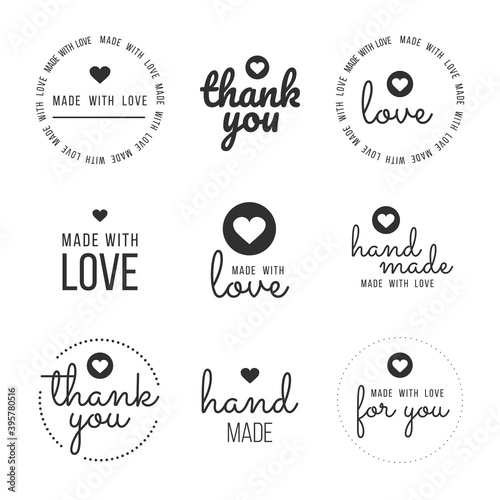 Fototapeta Set labels and bages for sellers including ''thank you'', ''handmade'', ''made with love'' and ''for you'' labels