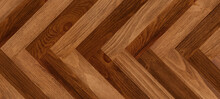 Wood Background With Chevron Pattern. Wooden Boards With Warm Brown And Worn Texture.