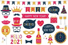 New Year 2021 Vector Photo Booth Props - Hats, Eyeglasses, Lips, Mustaches