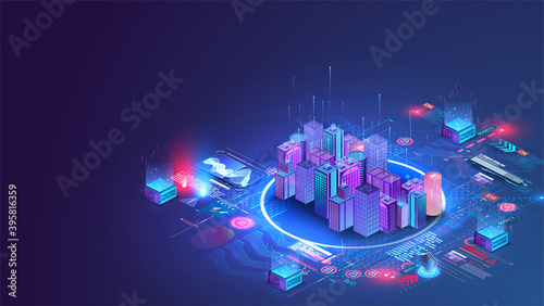 Photographie Smart city or intelligent building isometric vector concept