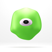 Cute Green Monster With One Big Eye, Isolated On White, 3d Render