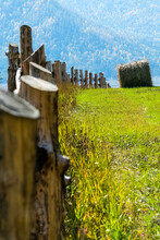 Wooden Fence On The Ranch. A Wooden Fence For Cattle.