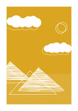 Minimalist Egypt Inspired Poster With Clouds, Sun And Pyramids In Flat Style. Can Be Used For Wall Art Decoration, Postcard And Cover Design