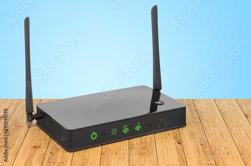 Photo Wireless internet router on the wooden planks, 3D rendering