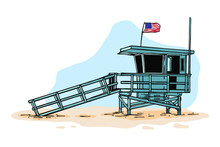 Lifeguard Tower Vector Illustration - Hand Drawn
