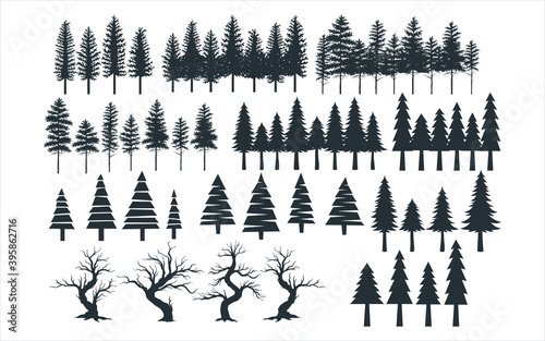 Obraz assorted pine tree vector graphic design template set for sticker, decoration, cutting and print file - fototapety do salonu