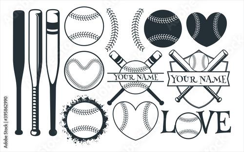 Canvas Print baseball sport theme vector graphic design template set for sticker, decoration,
