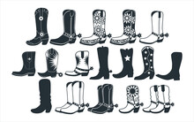 Assorted Cowboy Boots Vector Graphic Design Template Set For Sticker, Decoration, Cutting And Print File