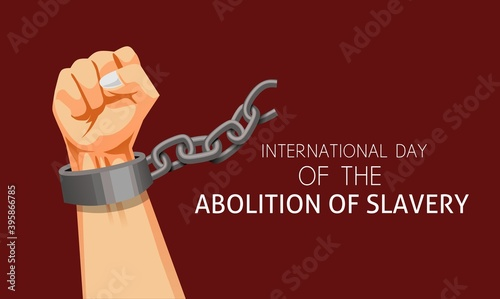Photo Vector illustration, International Day for the Abolition of Slavery, as a banner, template or poster
