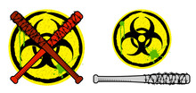 Biohazard Sign And Baseball Bats In Barbed Wire. Weapons And Signs Of Zombie Apocalypse. Survival After Apocalypse. Vector
