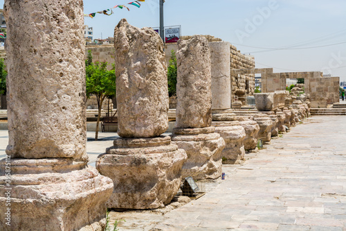 Roman columns of the ruins in front of  Ancient roman amphitheatre in Amman,Jord Canvas